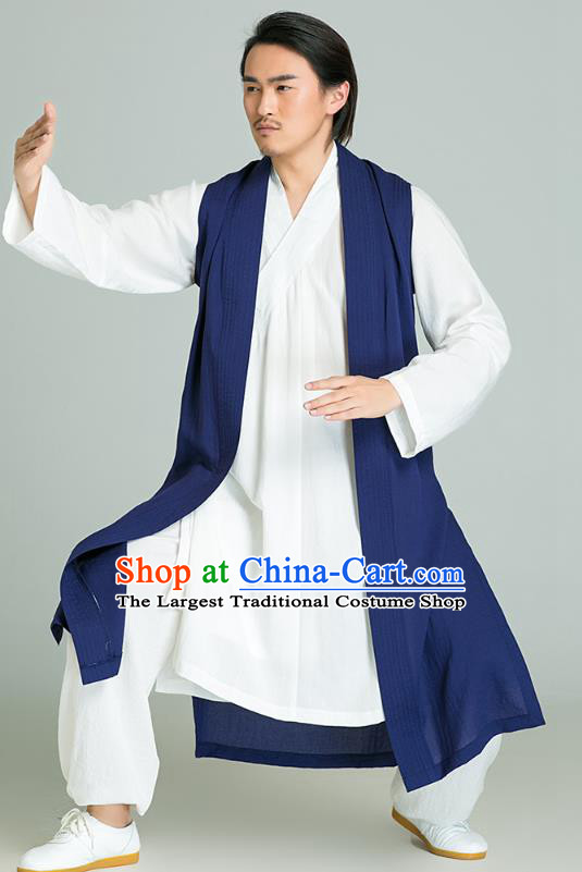 Top Grade Chinese Tai Chi Training White Uniforms Kung Fu Competition Costume Martial Arts Navy Vest Shirt and Pants for Men