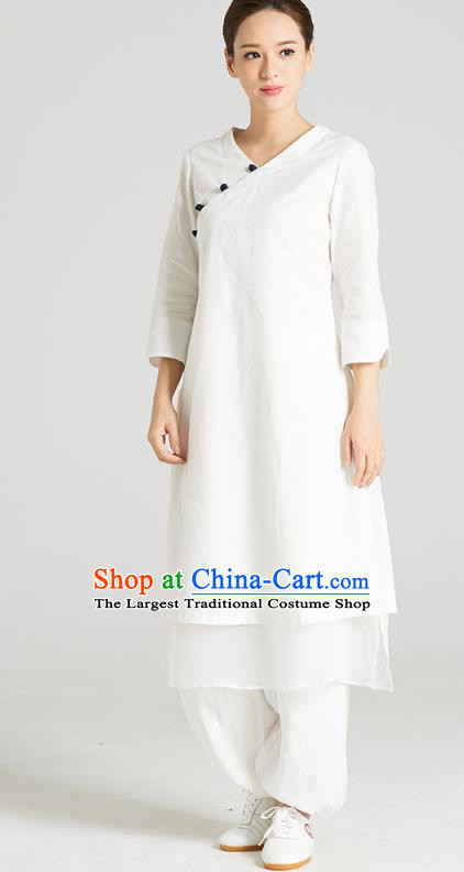 Professional Chinese Tang Suit White Long Blouse and Pants Costumes Kung Fu Garment Traditional Wudang Tai Chi Training Outfits for Women