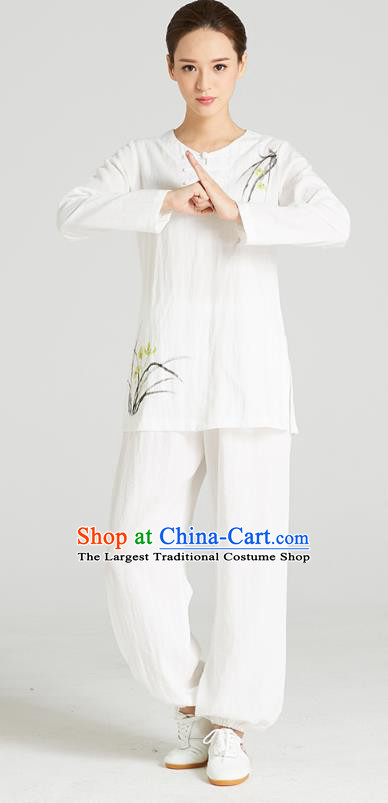 Professional Chinese Hand Painting Orchid Outfits Costumes Kung Fu Garment Traditional Wudang Tai Chi Training White Flax Blouse and Pants for Women