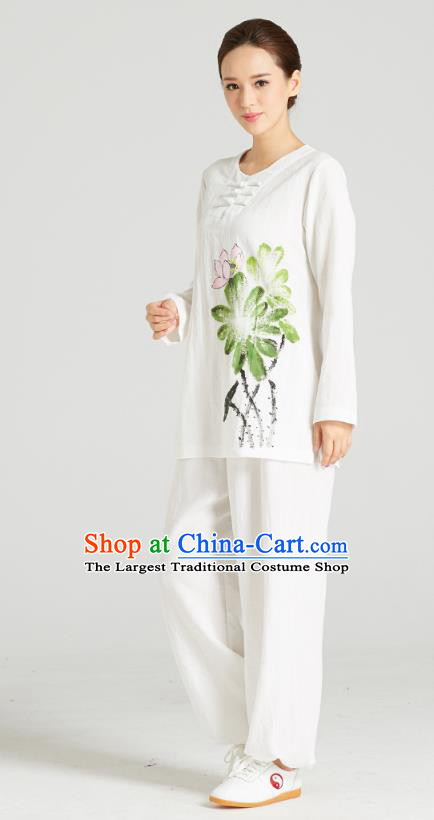 Professional Chinese Hand Painting Lotus Outfits Costumes Kung Fu Garment Traditional Wudang Tai Chi Training White Flax Blouse and Pants for Women