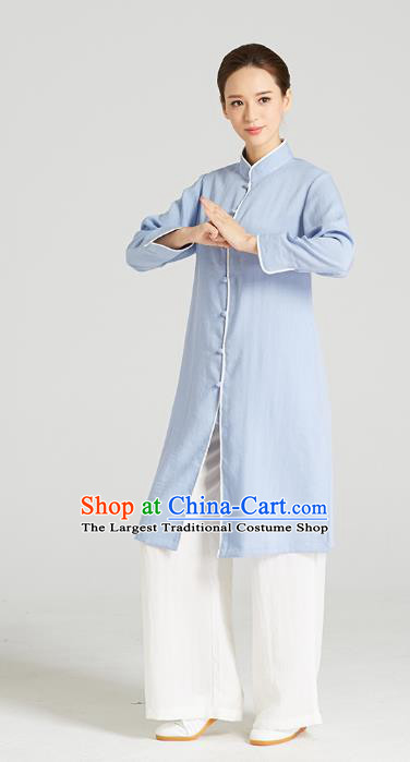Professional Chinese Kung Fu Garment Wudang Tai Chi Training Outfits Traditional Blue Linen Blouse and Pants Costumes for Women