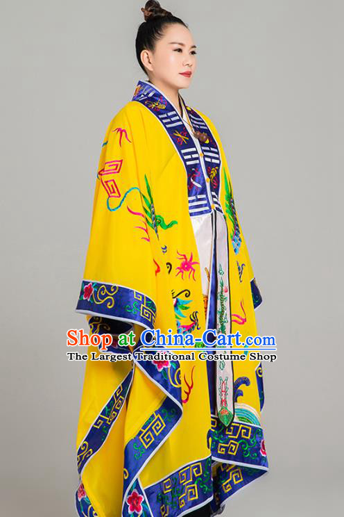 Traditional Chinese Embroidered Dragon Yellow Gown Taoist Nun Koshibo Priest Frock Martial Arts Costumes China Taoism Tai Chi Garment for Women