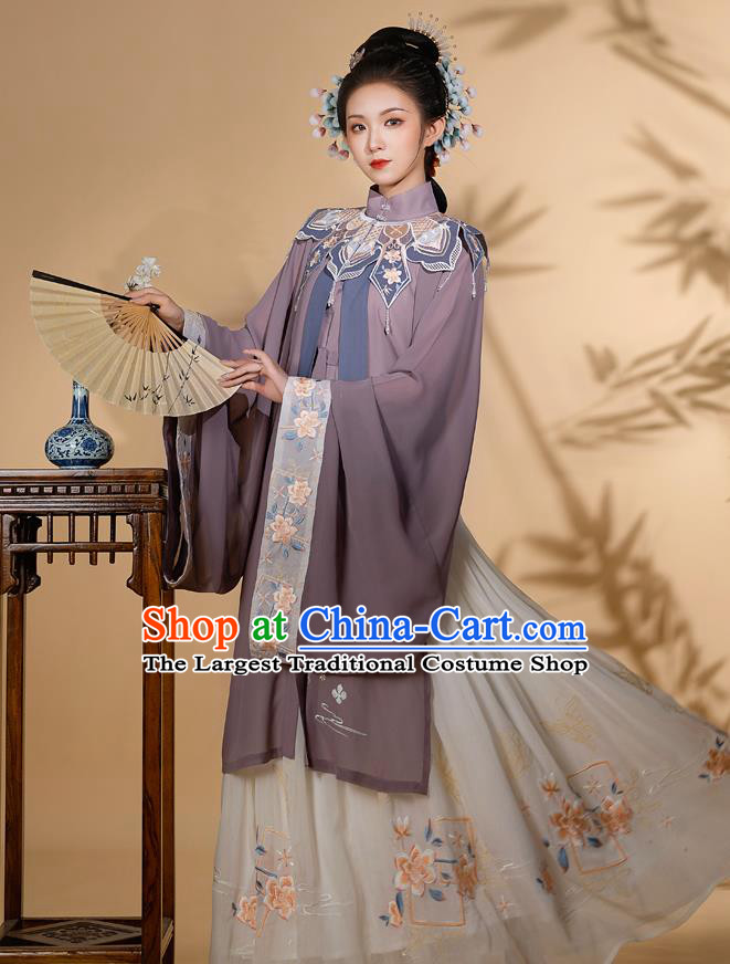 Traditional Chinese Ming Dynasty Noble Woman Embroidered Historical Costumes Ancient Royal Countess Hanfu Gown Blouse and Skirt Full Set