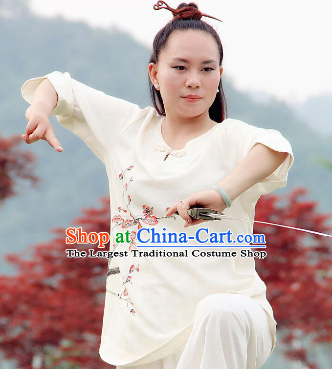 Professional Chinese Traditional Hand Painting Plum Flax Blouse and Pants Costumes Kung Fu Garment Wudang Tai Chi Training Outfits for Women