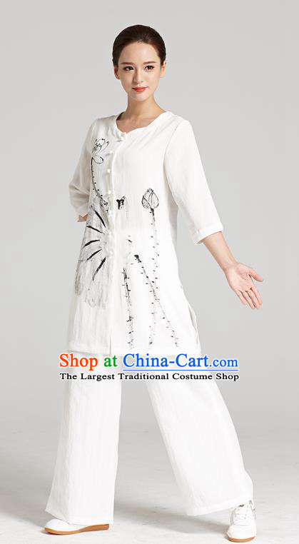 Professional Chinese Traditional Hand Painting Lotus Flax Blouse and Pants Costumes Kung Fu Garment Wudang Tai Chi Training Outfits for Women