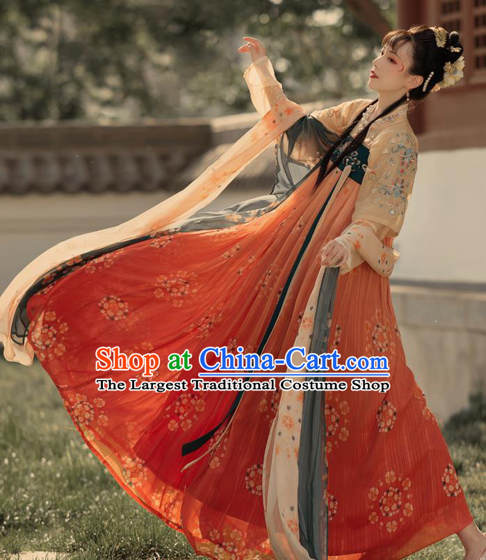 Chinese Ancient Tang Dynasty Hanfu Garment Royal Princess Embroidered Blouse and Skirt Costumes for Women