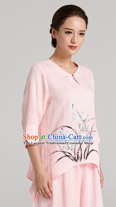 Professional Chinese Traditional Hand Painting Orchid Pink Flax Blouse and Pants Costumes Kung Fu Garment Wudang Tai Chi Training Outfits for Women