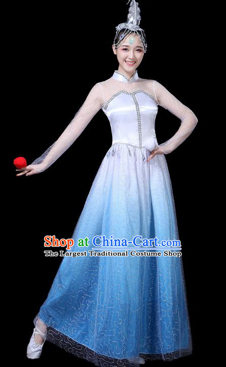 Traditional Chinese Opening Dance Costumes Stage Show Modern Dance Garment Blue Dress for Women