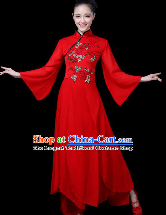 Traditional Chinese Fan Dance Costumes Stage Show Folk Dance Garment Classical Dance Red Dress and Pants for Women