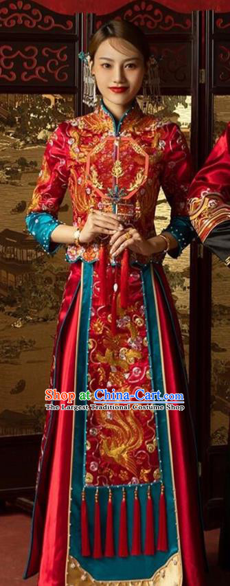 Chinese Traditional Wedding Costumes Bride Apparels Embroidered Xiuhe Suits Red Blouse and Dress for Women