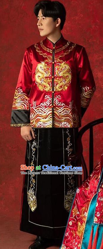 Top Chinese Traditional Bridegroom Wedding Costume Ancient Embroidered Clothing Tang Suit Red Mandarin Jacket and Black Gown for Men