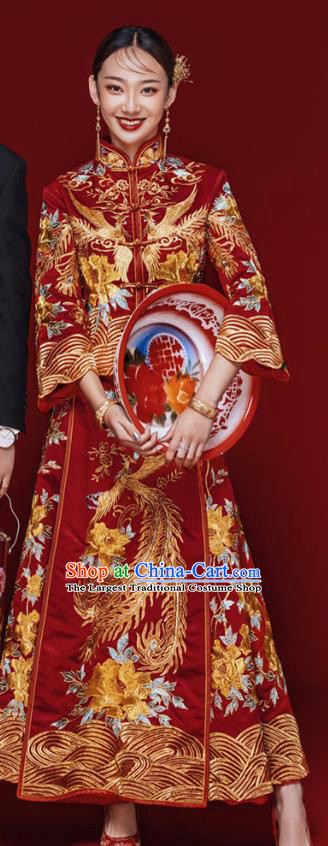 Chinese Traditional Wedding Embroidered Costumes Bride Apparels Xiuhe Suits Red Blouse and Dress for Women