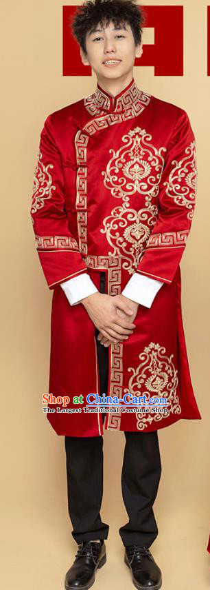 Top Chinese Traditional Wedding Costume Ancient Bridegroom Clothing Tang Suit Wine Red Long Mandarin Jacket for Men