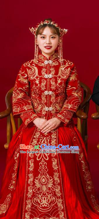 Chinese Traditional Bride Slim Apparels Embroidered Red Drilling Blouse and Dress Costumes Wedding Xiuhe Suits for Women