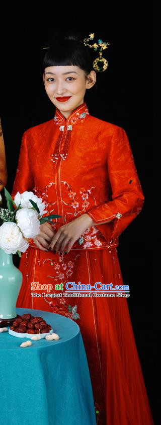 Chinese Traditional Wedding Costumes Bride Apparels Embroidered Red Blouse and Skirt Xiuhe Suits for Women
