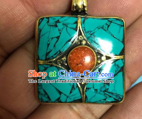 Chinese Traditional Tibetan Nationality Jewelry Decoration Zang Ethnic Necklace Pendant Accessories for Women