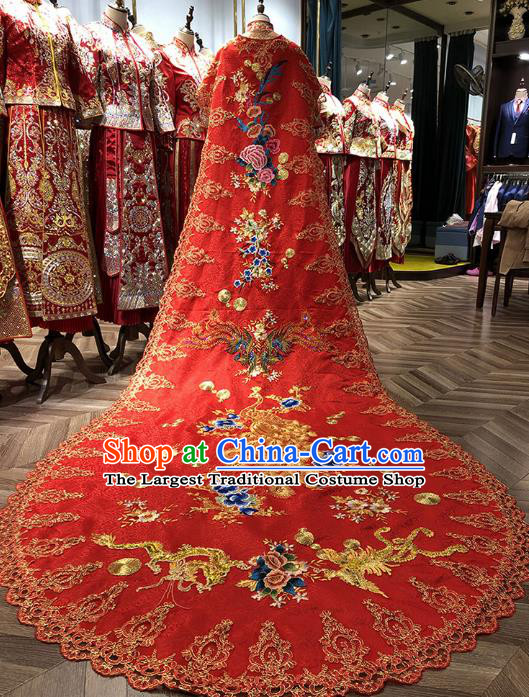 Chinese Traditional Bride Embroidered Red Cape Apparels Costumes Wedding Xiuhe Suits Trailing Four Meter Cloak for Women