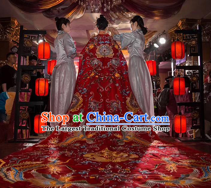 Chinese Traditional Bride Embroidered Long Trailing Three Meter Red Cape Apparels Costumes Wedding Xiuhe Suits Cloak for Women