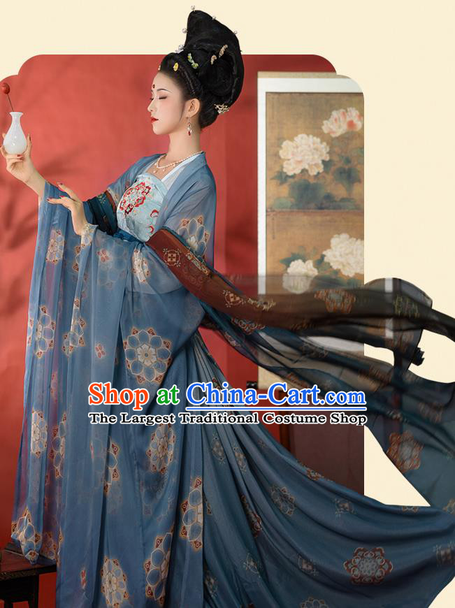 Chinese Ancient Imperial Concubine Costumes Tang Dynasty Hanfu Garment Blue Cloak Blouse and Strapless Dress Complete Set