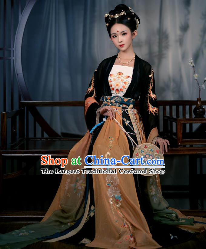 Chinese Ancient Court Maid Costumes Tang Dynasty Palace Lady Hanfu Garment Black Blouse Camisole and Embroidered Skirt Complete Set
