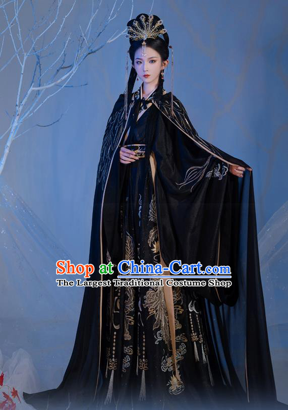 Chinese Ancient Goddess Black Costumes Jin Dynasty Palace Princess Hanfu Garment Embroidered Cape Blouse and Skirt Complete Set