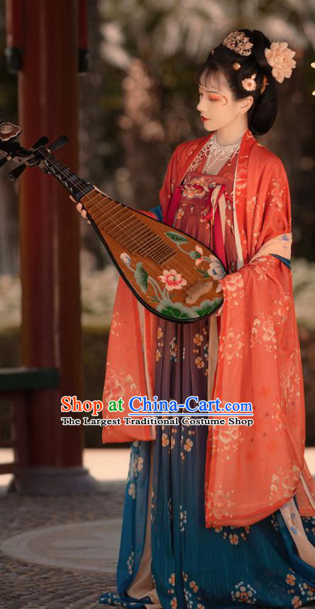 Chinese Ancient Princess Consort Costumes Tang Dynasty Noble Rani Hanfu Cape Blouse and Dress Garment Complete Set