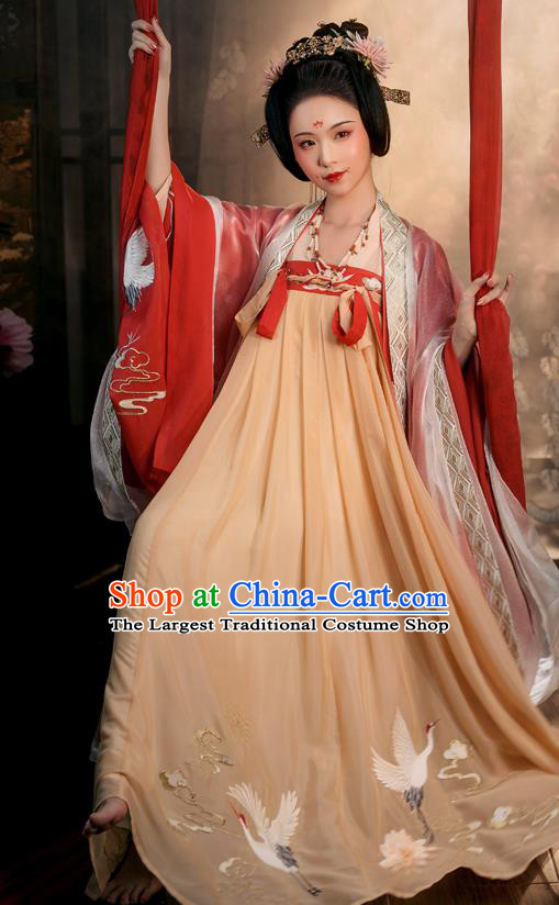 Chinese Ancient Tang Dynasty Noble Concubine Hanfu Garment Embroidered Cloak Blouse and Dress Historical Costumes Full Set