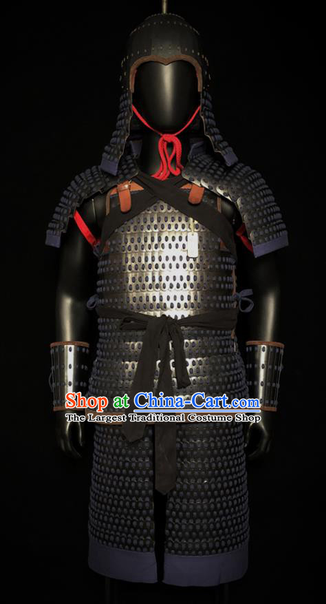 Traditional Chinese Tang Dynasty General Iron Body Armor and Helmet Ancient Warrior Costumes for Men