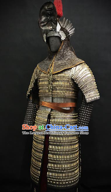 Traditional Chinese Ming Dynasty General Iron Body Armor Ancient Warrior Costumes and Helmet for Men