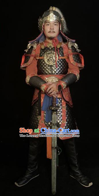 Traditional Chinese Han Dynasty General Body Armor Ancient Warrior Military Officer Costumes and Helmet for Men