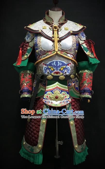Traditional Chinese Tang Dynasty General Iron Leather Body Armor Ancient Warrior Military Officer Costumes and Helmet Full Set