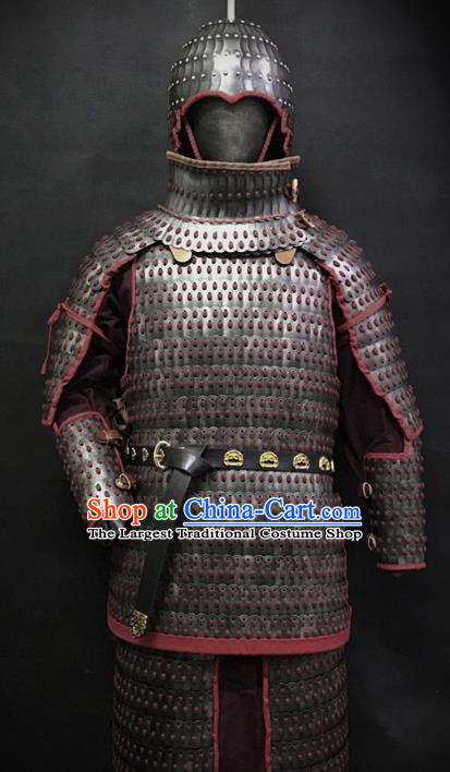 Traditional Chinese Eastern Jin Dynasty General Body Armor Ancient Military Officer Cavalry Costumes and Helmet Full Set