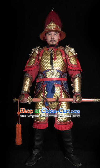 Traditional Chinese Tang Dynasty General Golden Body Armor Ancient Cavalry Warrior Iron Costumes and Helmet Full Set