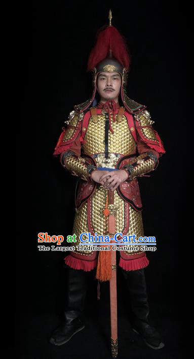 Traditional Chinese Tang Dynasty Military Officer Golden Body Armor Ancient Cavalry Warrior General Iron Costumes and Helmet Full Set