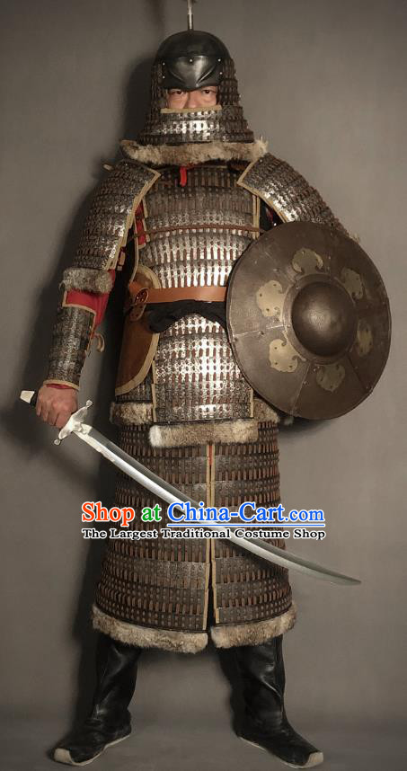 Traditional Chinese Song Dynasty Jin State Military Officer Body Armor Ancient Cavalry Warrior General Iron Costumes and Helmet Full Set