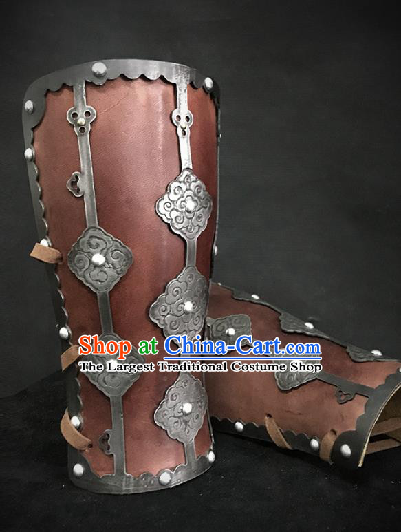 Traditional Chinese Song Dynasty Liao State Leather Wrist Guard Warrior Wristband Armor Ancient Soldier Iron Wristlets for Men