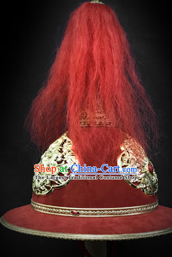 Traditional Chinese Ming Dynasty Imperial Guard Leather Armet Hat Headpiece Ancient General Blades Helmet for Men