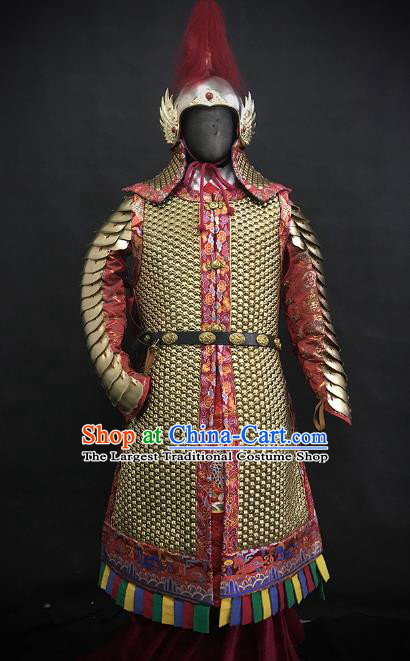 Traditional Chinese Ming Dynasty Imperial Guard Body Armor Outfits Ancient Infantry General Iron Costumes and Helmet Full Set
