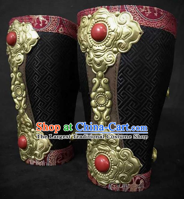 Traditional Chinese Song Dynasty Warrior Black Brocade Wrist Guard Wristband Armor Ancient Soldier Leather Wristlets for Men