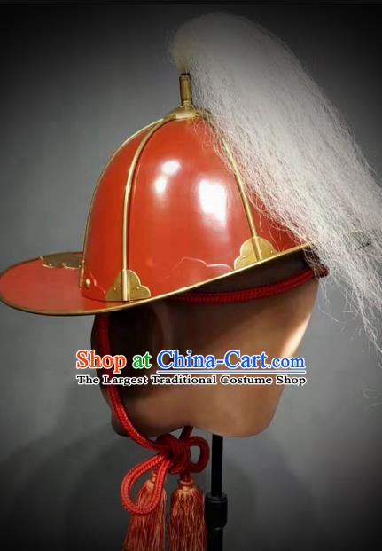 Traditional Chinese Ming Dynasty General Armor Hat Headpiece Ancient Warrior Red Lacquer Iron Helmet for Men