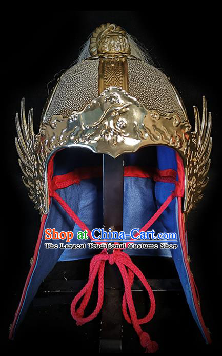 Traditional Chinese Ming Dynasty General Armor Roc Hat Headpiece Ancient Warrior Iron Helmet for Men