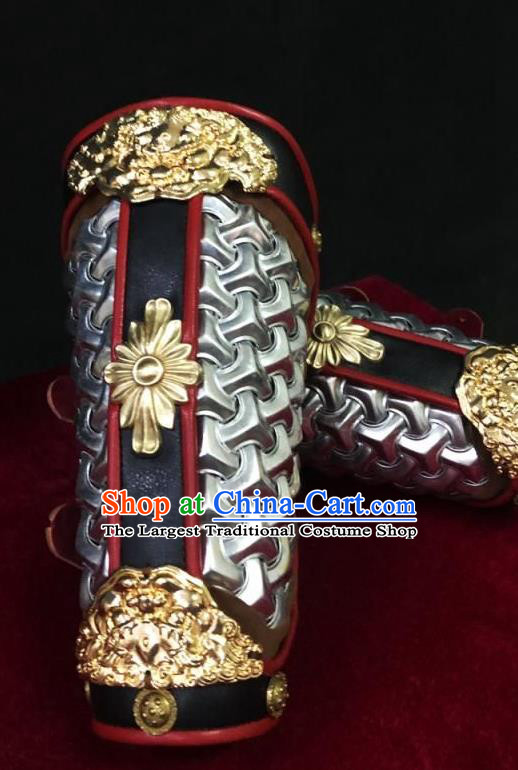 Traditional Chinese Song Dynasty Infantry Warrior Argent Magal Wrist Guard Wristband Armor Ancient Soldier Leather Wristlets Armband for Men