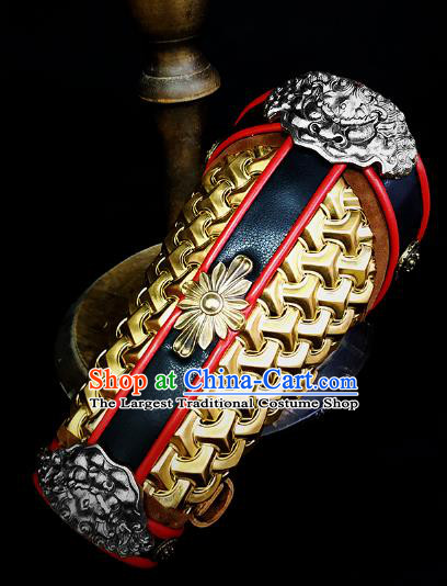 Traditional Chinese Song Dynasty Infantry Warrior Golden Magal Wrist Guard Wristband Armor Ancient Soldier Leather Wristlets Armband for Men