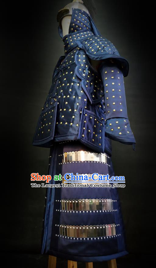 Traditional Chinese Qing Dynasty Emperor Qianlong Blue Satin Body Armor Outfits Ancient General Iron Costumes and Helmet Full Set