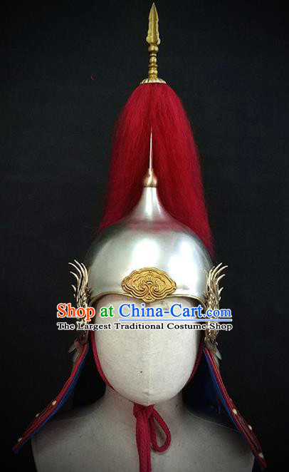 Traditional Chinese Ming Dynasty General Phoenix Wings Armor Hat Headpiece Ancient Soldier Warrior Armet Iron Helmet for Men