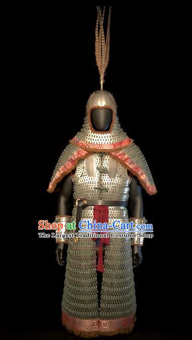 Traditional Chinese Song Dynasty Military Officer Body Armor Outfits Ancient Film Liao State General Iron Costumes and Helmet Full Set