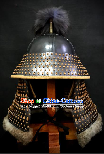Traditional Chinese Song Dynasty General Armor Hat Headpiece Ancient Film Jin State Soldier Warrior Armet Iron Helmet for Men