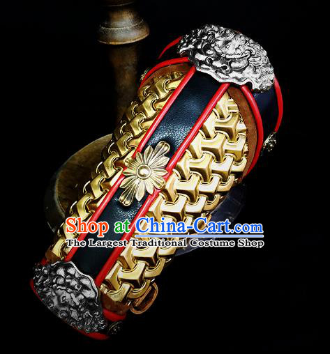 Traditional Chinese Song Dynasty Infantry Warrior Copper Wrist Guard Wristband Armor Ancient Soldier Leather Wristlets Armband for Men