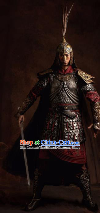 Traditional Chinese Han Dynasty Military Officer Body Armor Outfits Ancient Film General Armour Costumes and Helmet Complete Set
