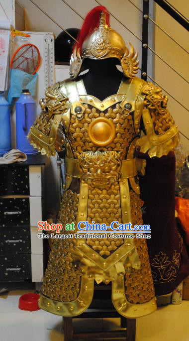 Traditional Chinese Han Dynasty General Golden Body Armor Outfits Ancient Film Military Officer Armour Costumes and Helmet Full Set